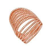 J-JAZ Micro Pave' Rose Coated & Silver 12 Row's of Cz Ring